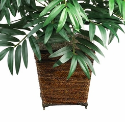 Bamboo Palm with Wicker Basket Silk Plant in Green - Nearly Natural - 6556