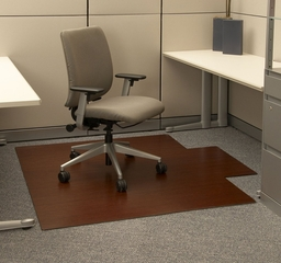 Bamboo Roll-Up Office Chair Mat in Dark Cherry - AMB24009