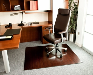 Bamboo Roll-Up Office Chair Mat in Dark Cherry - AMB24023W
