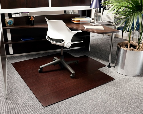 Bamboo Roll-Up Office Chair Mat in Dark Cherry - AMB24025W