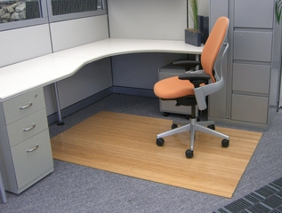 Bamboo Roll-Up Office Chair Mat in Natural - AMB24001