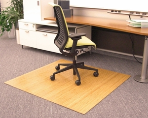 Bamboo Roll-Up Office Chair Mat in Natural - AMB24012