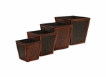 Bamboo Square Decorative Planters (Set of 4) - Nearly Natural - 0514