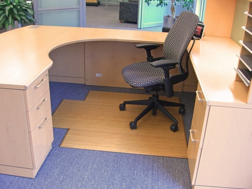 Bamboo Tri-Fold Office Chair Mat in Natural - AMB0500-1002