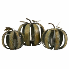 Banded Pumpkin Candleholders (Set of 3) - IMAX - 59084-3