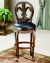 Bar Stool - Fleur De Lis Triple Leaf Bar Stool - 62970