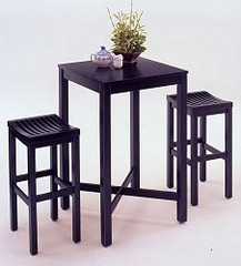 Bar Table and 2 Stools Set in Black - 59823-58