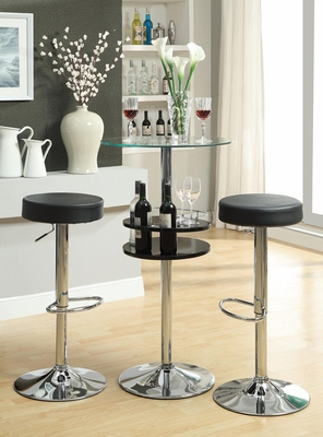 Bar Table with Tempered Glass Top and 2 Stools - 120715