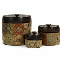 Barberry Handpainted Storage Canisters (Set of 3) - IMAX - 5499-3