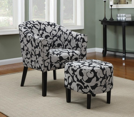 Barrel Back Accent Chair and Ottoman Set with White and Gray Floral Print - 902062
