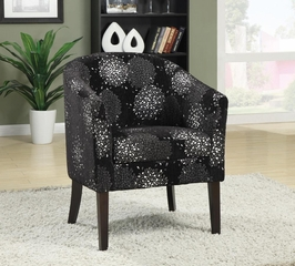 Barrel Back Accent Chair in Black and Silver Chenille - 902093
