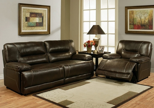 Barrington Premium Italian Leather Sofa and Recliner Set - Abbyson Living - CH-8862-BRN-3-1
