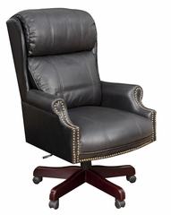 Barrington, Traditional Judges-Style Chair, Leather Cushions with Mahogany Base - ROF-9099L-BK