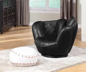 Baseball Black Glove Chair and Ottoman - All Star - 05522A
