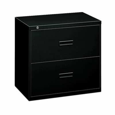 Basyx 2-Drawer Lateral File Cabinet W/Lock - Black - BSX432LP