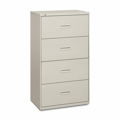 Basyx 4-Drawer Lateral Filing Cabinet W/Lock - Light Gray - BSX434LQ