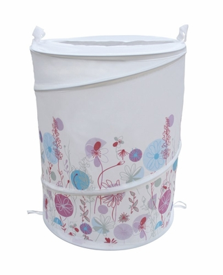 Bathroom Collapse Hamper with Flower Designs - 12149