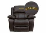 Baylor University Bears Brown Leather Rocker Recliner - MEN-DA3439-91-BRN-45002-EMB-GG