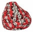 Bean Bag Chair Adult in Maui Red - Print and Plush - 30-1041-684