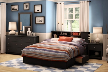 Bedroom Furniture Set 1 in Solid Black - South Shore Furniture - 3170-BSET-171