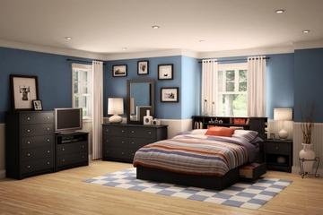 Bedroom Furniture Set 2 in Solid Black - South Shore Furniture - 3170-BSET-172