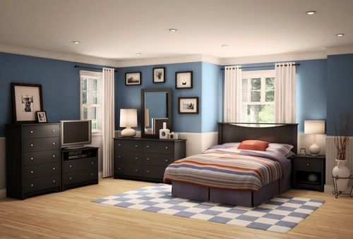 Bedroom Furniture Set 3 in Solid Black - South Shore Furniture - 3170-BSET-173