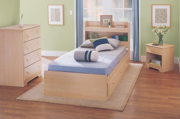 Bedroom Furniture Set with Twin Size Bed in Maple - My Space, My Place - New Visions by Lane - 728-BSET-1