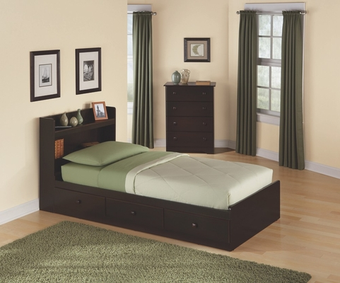 Bedroom Furniture Set with Twin Size Bed in Walnut - My Space, My Place - New Visions by Lane - 316-BSET-1