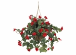 Begonia Hanging Basket in Red - Nearly Natural - 6616