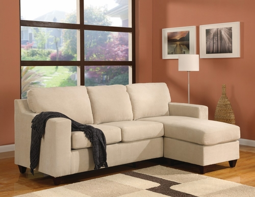 Beige Microfiber Reversible Chaise Sectional - Vogue - 05913