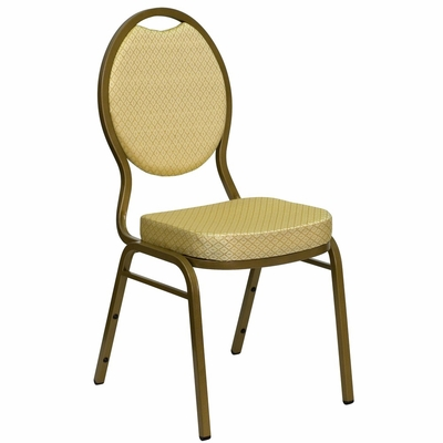 Beige Patterned HERCULES Series Teardrop Banquet Chair - Gold Frame, 2.5