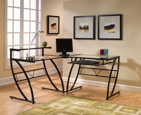 Belaire Glass L-Shaped Desk - Z-Line Designs - ZL1441-1DU