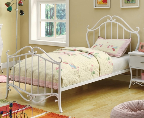 Bella White Twin Metal Bed - 400521T