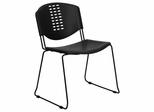 Big and Tall 400 lb. Capacity Black Plastic Stack Chair with Black Powder Coated Frame Finish - RUT-NF02-BK-GG