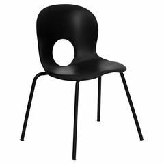 Big and Tall 400 lb. Capacity Designer Black Plastic Stack Chair with Black Powder Coated Frame Finish - RUT-NC258-BK-GG