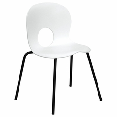 Big and Tall 400 lb. Capacity Designer White Plastic Stack Chair with Black Powder Coated Frame Finish - RUT-NC258-WHITE-GG