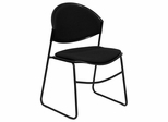 Big and Tall 550 lb. Capacity Black Padded Stack Chair with Black Powder Coated Frame Finish - RUT-CA02-01-BK-PAD-GG