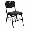 Big and Tall 880 lb. Capacity Black Plastic Chair with Black Powder Coated Frame and Book Basket - RUT-GK01-BK-BAS-GG