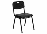 Big and Tall 880 lb. Capacity Black Plastic Stack Chair with Black Powder Coated Frame - RUT-GK01-BK-GG
