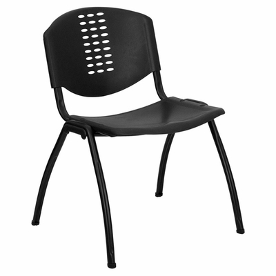 Big and Tall 880 lb. Capacity Black Polypropylene Stack Chair with Black Frame Finish - RUT-NF01A-BK-GG