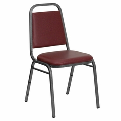 "Big and Tall Banquet Chair w/ 1.5"" Padded Foam Seat - Burgundy Vinyl, Silver Vein Frame - FD-BHF-2-BY-VYL-GG"