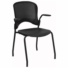 Big and Tall Black Perforated Stacking Side Chair with Arms - RUT-208-2K-BK-A-GG