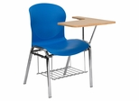 Big and Tall Blue Shell Chair with Left Handed Laminate Tablet Arm and Book Rack - JN-EVO-DESK-LFT-GG
