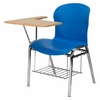 Big and Tall Blue Shell Chair with Right Handed Laminate Tablet Arm and Book Rack - JN-EVO-DESK-RT-GG