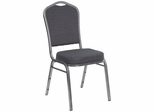 Big and Tall Crown Back Banquet Stack Chair with Silver Vein Frame and Black Patterned Fabric - HF-C01-SV-E26-BK-GG