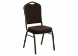 Big and Tall Crown Back Stacking Banquet Chair with Brown Patterned Fabric and Gold Vein Frame - NG-C01-BROWN-GV-GG