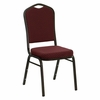 Big and Tall Crown Back Stacking Banquet Chair with Burgundy Patterned Fabric and Gold Vein Frame - NG-C01-BURG-GV-GG
