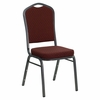Big and Tall Crown Back Stacking Banquet Chair with Burgundy Patterned Fabric and Silver Vein Frame - NG-C01-HTS-2201-SV-GG
