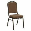 "Big and Tall Crown Back Stacking Banquet Chair with Coffee Fabric and 2.5"" Thick Seat - Gold Vein Frame - NG-C01-COFFEE-GV-GG"