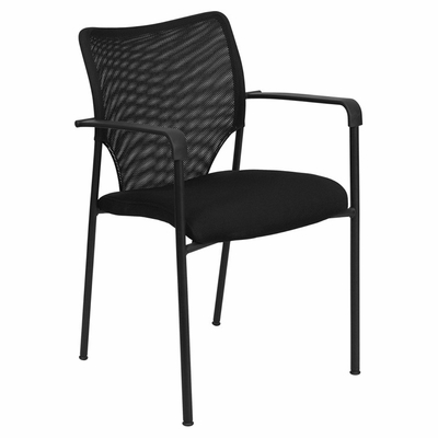 Big and Tall Designer Black Mesh Fabric Stacking Arm Chair with Black Powder Coated Frame Finish - RUT-NC178C-ARMS-BK-GG